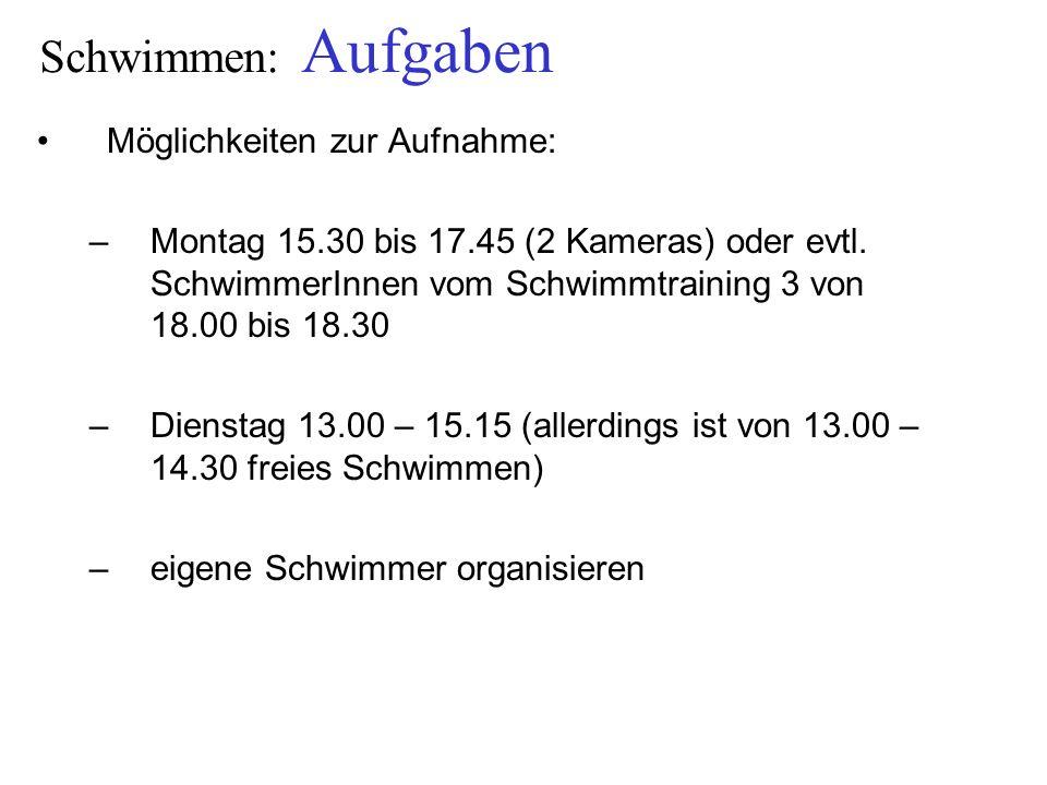 Schwimmen: Aufgaben Möglichkeiten zur Aufnahme: –Montag 15.30 bis 17.45 (2 Kameras) oder evtl. SchwimmerInnen vom Schwimmtraining 3 von 18.00 bis 18.3