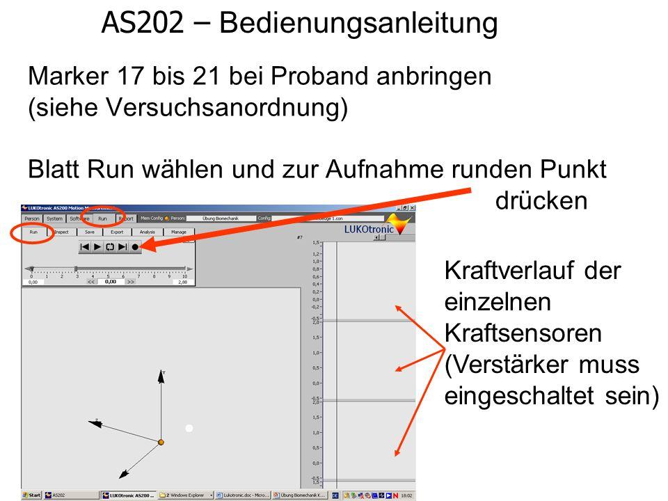 AS202 – Bedienungsanleitung Marker 17 bis 21 bei Proband anbringen (siehe Versuchsanordnung) Blatt Run w ä hlen und zur Aufnahme runden Punkt dr ü cke