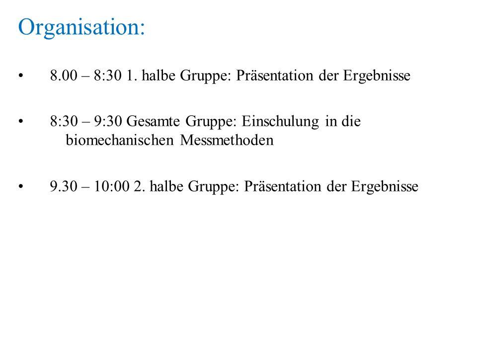 Organisation: 8.00 – 8:30 1. halbe Gruppe: Präsentation der Ergebnisse 8:30 – 9:30 Gesamte Gruppe: Einschulung in die biomechanischen Messmethoden 9.3