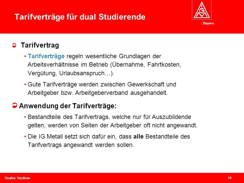 Bayern 14 Duales Studium Tarifverträge für dual Studierende Tarifvertrag Tarifverträge regeln wesentliche Grundlagen der Arbeitsverhältnisse im Betrieb (Übernahme, Fahrtkosten, Vergütung, Urlaubsanspruch…).