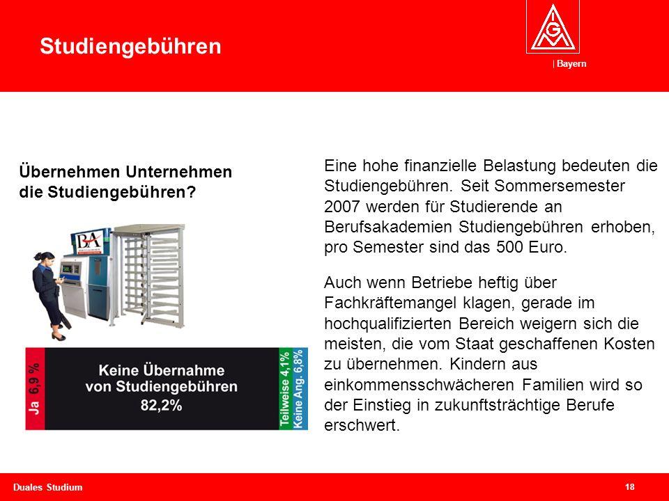 Bayern 18 Duales Studium Eine hohe finanzielle Belastung bedeuten die Studiengebühren.