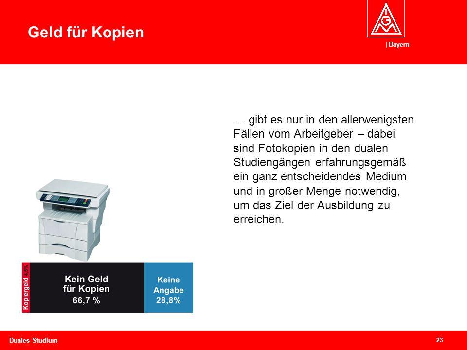Bayern 23 Duales Studium Geld für Kopien… … gibt es nur in den allerwenigsten Fällen vom Arbeitgeber – dabei sind Fotokopien in den dualen Studiengängen erfahrungsgemäß ein ganz entscheidendes Medium und in großer Menge notwendig, um das Ziel der Ausbildung zu erreichen.
