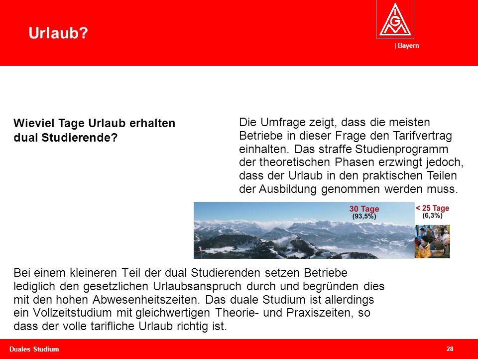 Bayern 28 Duales Studium Bei einem kleineren Teil der dual Studierenden setzen Betriebe lediglich den gesetzlichen Urlaubsanspruch durch und begründen dies mit den hohen Abwesenheitszeiten.