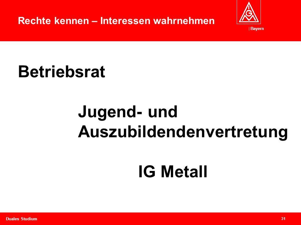 Bayern 31 Duales Studium Betriebsrat Jugend- und Auszubildendenvertretung IG Metall Rechte kennen – Interessen wahrnehmen