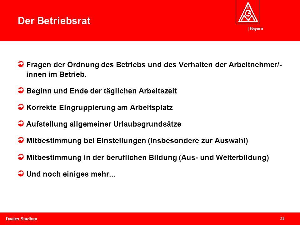 Bayern 32 Duales Studium Betriebsrat – starke Vertretung der Beschäftigen Fragen der Ordnung des Betriebs und des Verhalten der Arbeitnehmer/- innen im Betrieb.