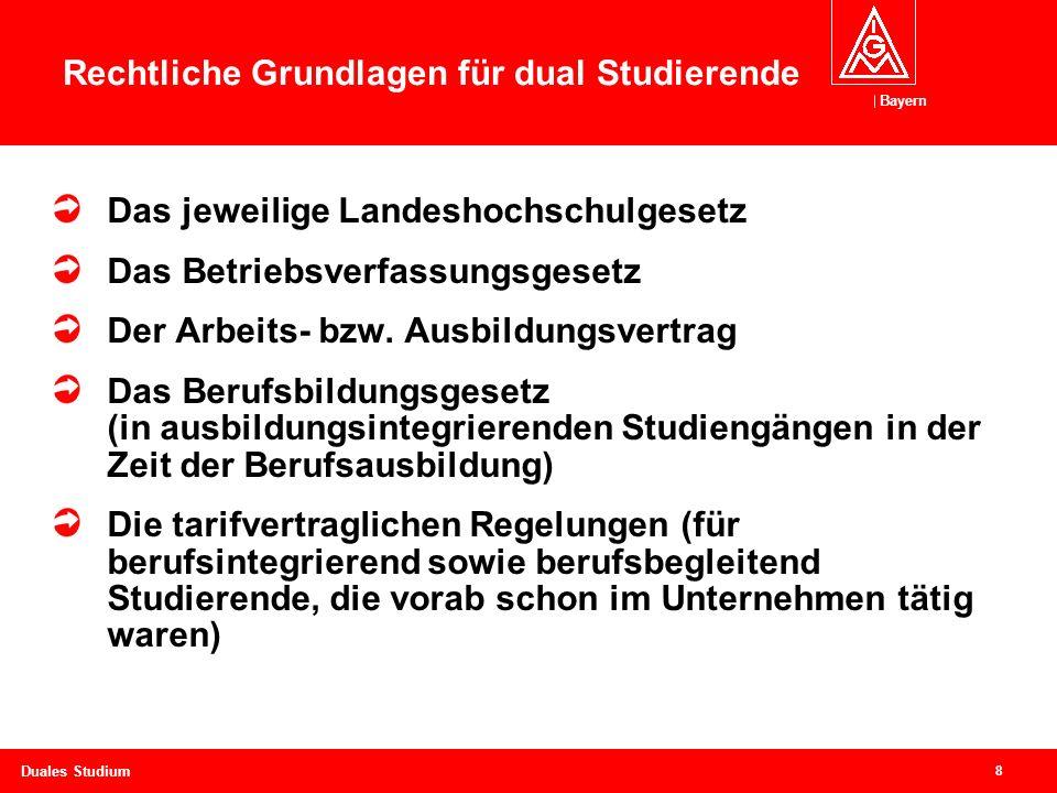 Bayern 8 Duales Studium Rechtliche Grundlagen für dual Studierende Das jeweilige Landeshochschulgesetz Das Betriebsverfassungsgesetz Der Arbeits- bzw.