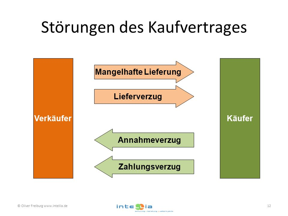 Störungen des Kaufvertrages VerkäuferKäufer Mangelhafte Lieferung Lieferverzug Annahmeverzug Zahlungsverzug © Oliver Freiburg www.intellia.de12