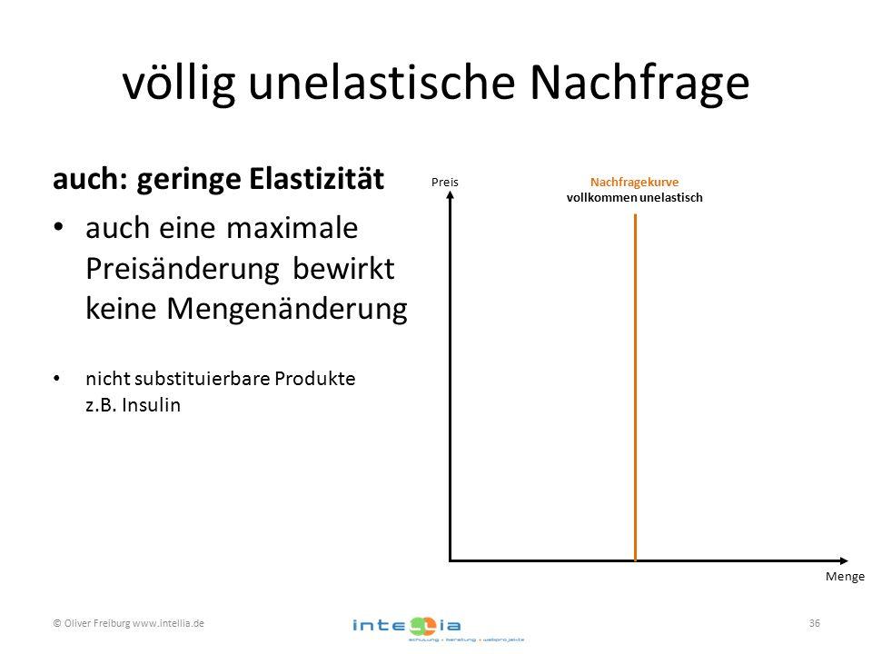 völlig unelastische Nachfrage auch: geringe Elastizität auch eine maximale Preisänderung bewirkt keine Mengenänderung nicht substituierbare Produkte z.B.