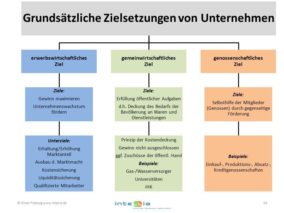 © Oliver Freiburg www.intellia.de54 Grundsätzliche Zielsetzungen von Unternehmen erwerbswirtschaftliches Ziel Ziele: Gewinn maximieren Unternehmenswachstum fördern Unterziele: Erhaltung/Erhöhung Marktanteil Ausbau d.