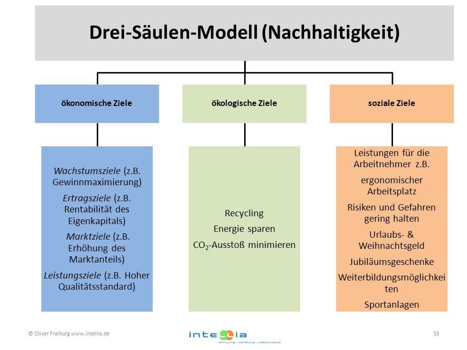 © Oliver Freiburg www.intellia.de55 Drei-Säulen-Modell (Nachhaltigkeit) ökonomische Ziele Wachstumsziele (z.B. Gewinnmaximierung) Ertragsziele (z.B. R