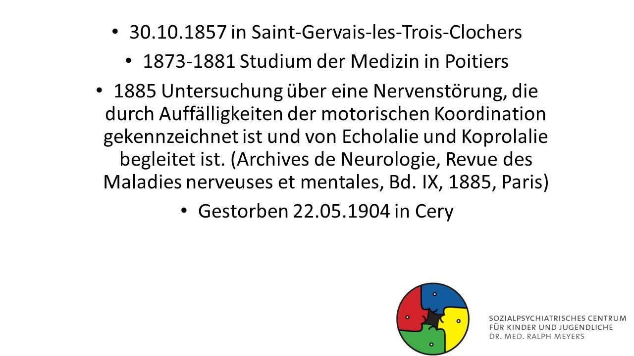 30.10.1857 in Saint-Gervais-les-Trois-Clochers 1873-1881 Studium der Medizin in Poitiers 1885 Untersuchung über eine Nervenstörung, die durch Auffälli