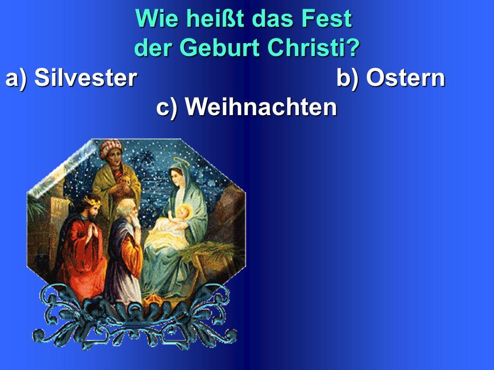 Wie heißt das Fest der Geburt Christi a) Silvester b) Ostern c) Weihnachten c) Weihnachten