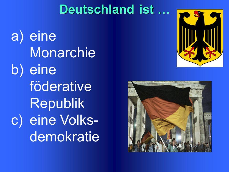 Die Staatsfarben der BRD ist… a)weiß - blau- rot b)gelb –schwarz- grün c) rot- schwarz- gold d)schwarz- rot- gold Liechtenstein