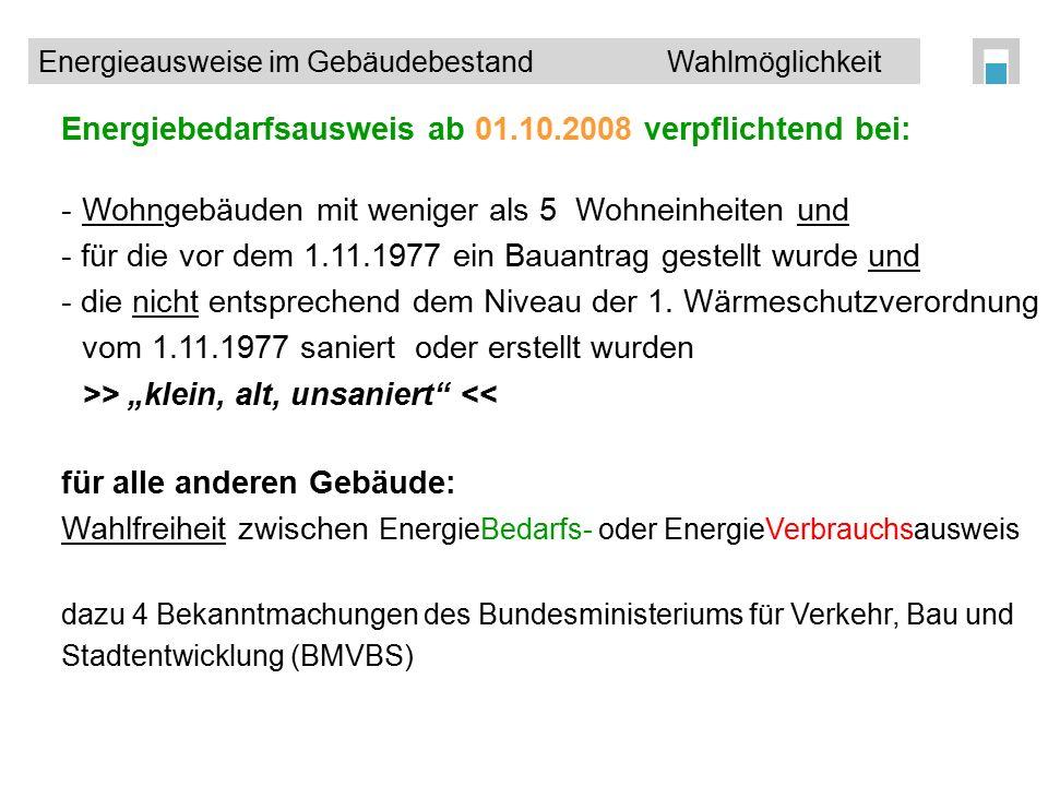 Energiebedarfsausweis ab 01.10.2008 verpflichtend bei: -Wohngebäuden mit weniger als 5 Wohneinheiten und - für die vor dem 1.11.1977 ein Bauantrag ges