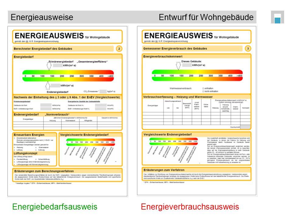 Energieausweise Entwurf für Wohngebäude EnergiebedarfsausweisEnergieverbrauchsausweis