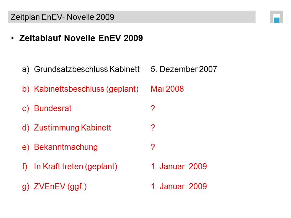 Zeitablauf Novelle EnEV 2009 a) Grundsatzbeschluss Kabinett 5. Dezember 2007 b)Kabinettsbeschluss (geplant)Mai 2008 c) Bundesrat ? d)Zustimmung Kabine