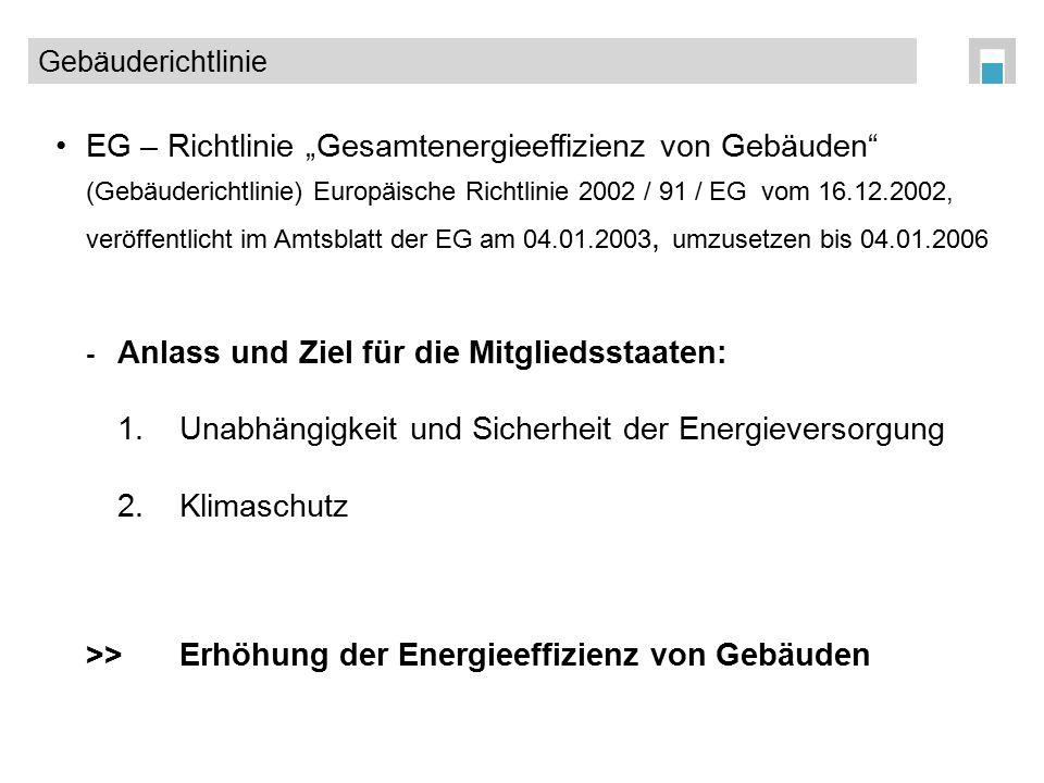 """EG – Richtlinie """"Gesamtenergieeffizienz von Gebäuden"""" (Gebäuderichtlinie) Europäische Richtlinie 2002 / 91 / EG vom 16.12.2002, veröffentlicht im Amts"""