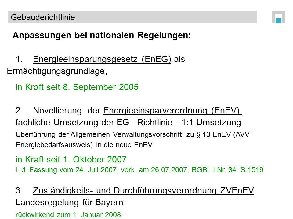 Anpassungen bei nationalen Regelungen: 1.Energieeinsparungsgesetz (EnEG) als Ermächtigungsgrundlage, in Kraft seit 8. September 2005 2.Novellierung de
