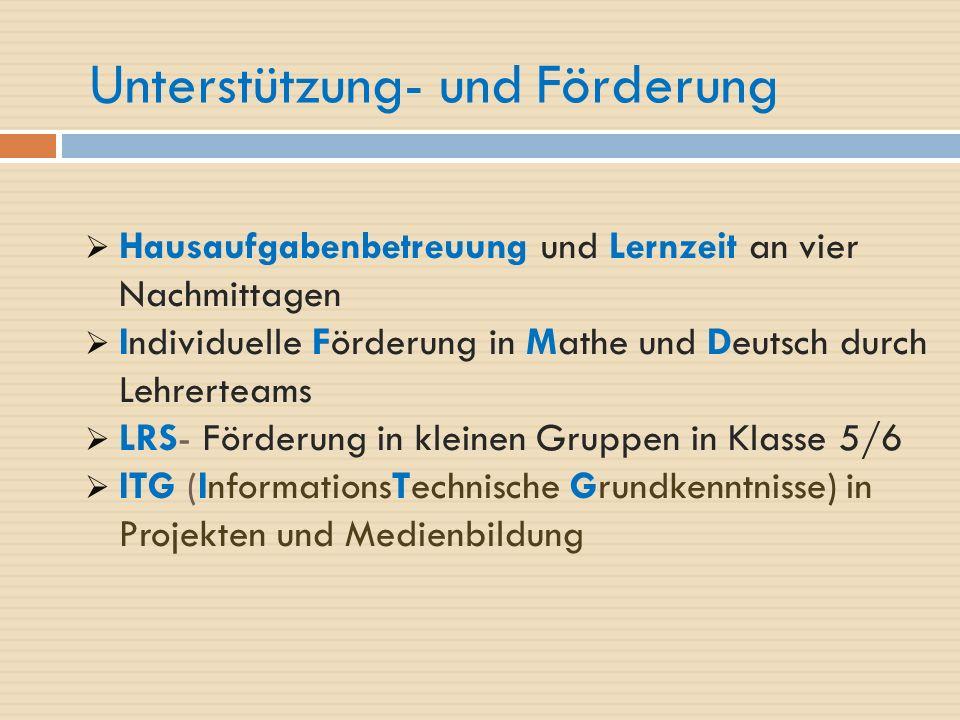 Unterstützung- und Förderung  Hausaufgabenbetreuung und Lernzeit an vier Nachmittagen  Individuelle Förderung in Mathe und Deutsch durch Lehrerteams  LRS- Förderung in kleinen Gruppen in Klasse 5/6  ITG (InformationsTechnische Grundkenntnisse) in Projekten und Medienbildung