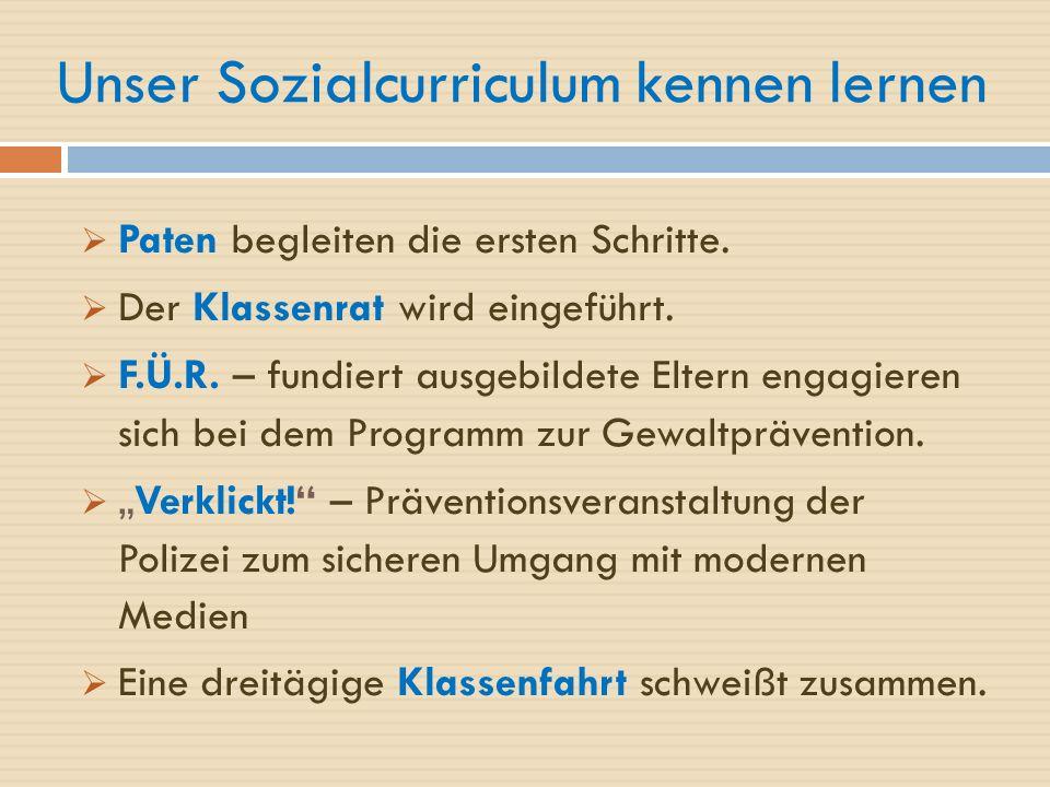 Unser Sozialcurriculum kennen lernen  Paten begleiten die ersten Schritte.