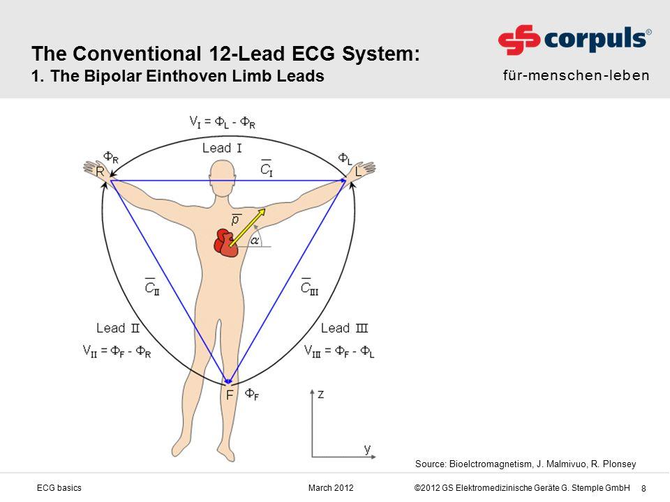 für-menschen-leben ©2012 GS Elektromedizinische Geräte G. Stemple GmbHMarch 2012ECG basics 8 The Conventional 12-Lead ECG System: 1. The Bipolar Einth