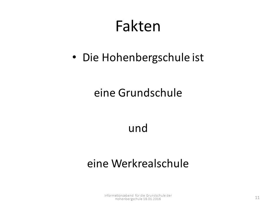 Fakten Die Hohenbergschule ist eine Grundschule und eine Werkrealschule Informationsabend für die Grundschule der Hohenbergschule 18.01.2016 11