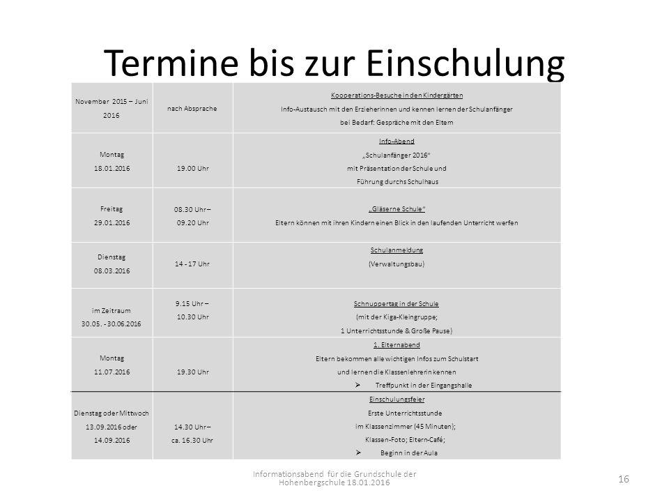 Termine bis zur Einschulung Informationsabend für die Grundschule der Hohenbergschule 18.01.2016 November 2015 – Juni 2016 nach Absprache Kooperations