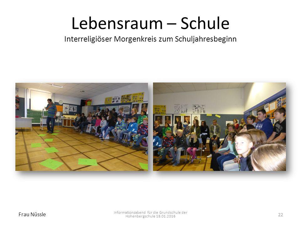 Lebensraum – Schule Interreligiöser Morgenkreis zum Schuljahresbeginn Informationsabend für die Grundschule der Hohenbergschule 18.01.2016 Frau Nüssle