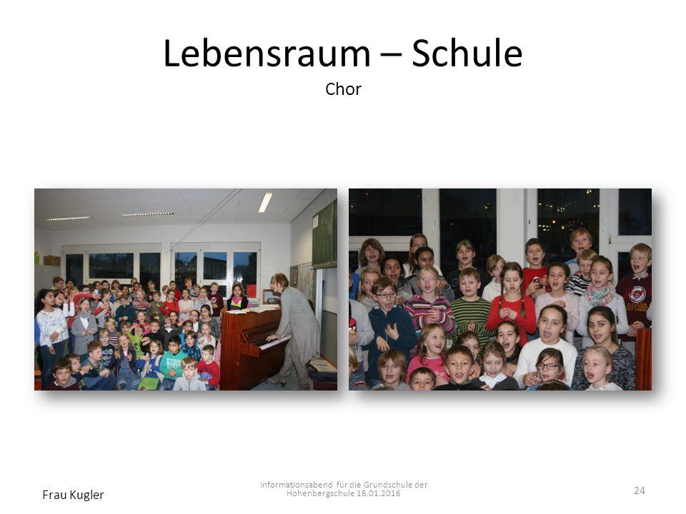 Lebensraum – Schule Chor Informationsabend für die Grundschule der Hohenbergschule 18.01.2016 Frau Kugler 24