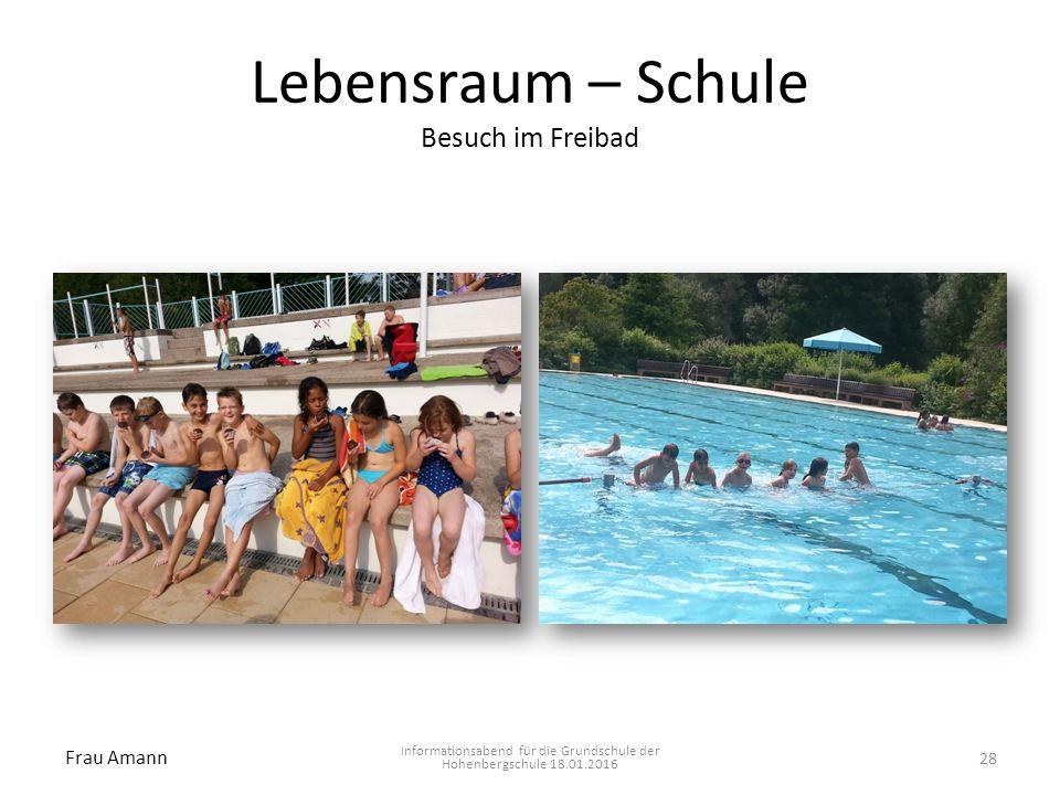 Lebensraum – Schule Besuch im Freibad Informationsabend für die Grundschule der Hohenbergschule 18.01.2016 Frau Amann 28