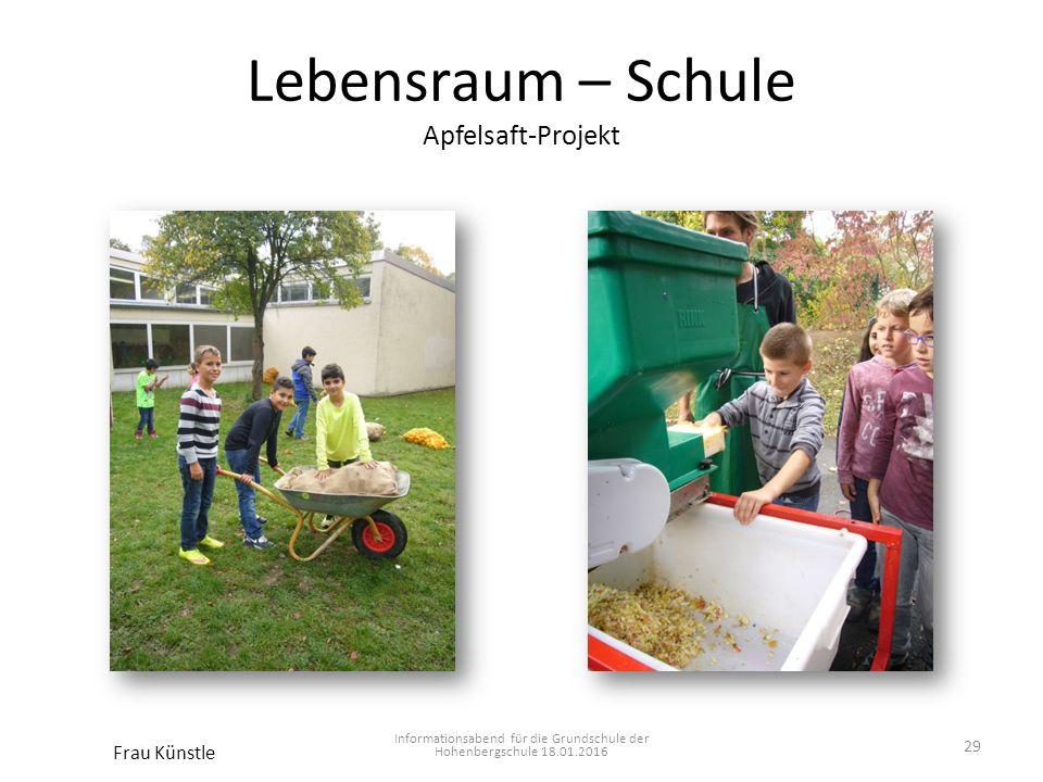 Lebensraum – Schule Apfelsaft-Projekt Informationsabend für die Grundschule der Hohenbergschule 18.01.2016 Frau Künstle 29