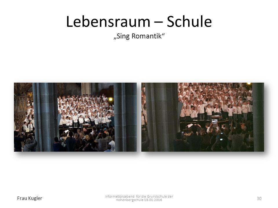 "Lebensraum – Schule ""Sing Romantik"" Informationsabend für die Grundschule der Hohenbergschule 18.01.2016 Frau Kugler 30"