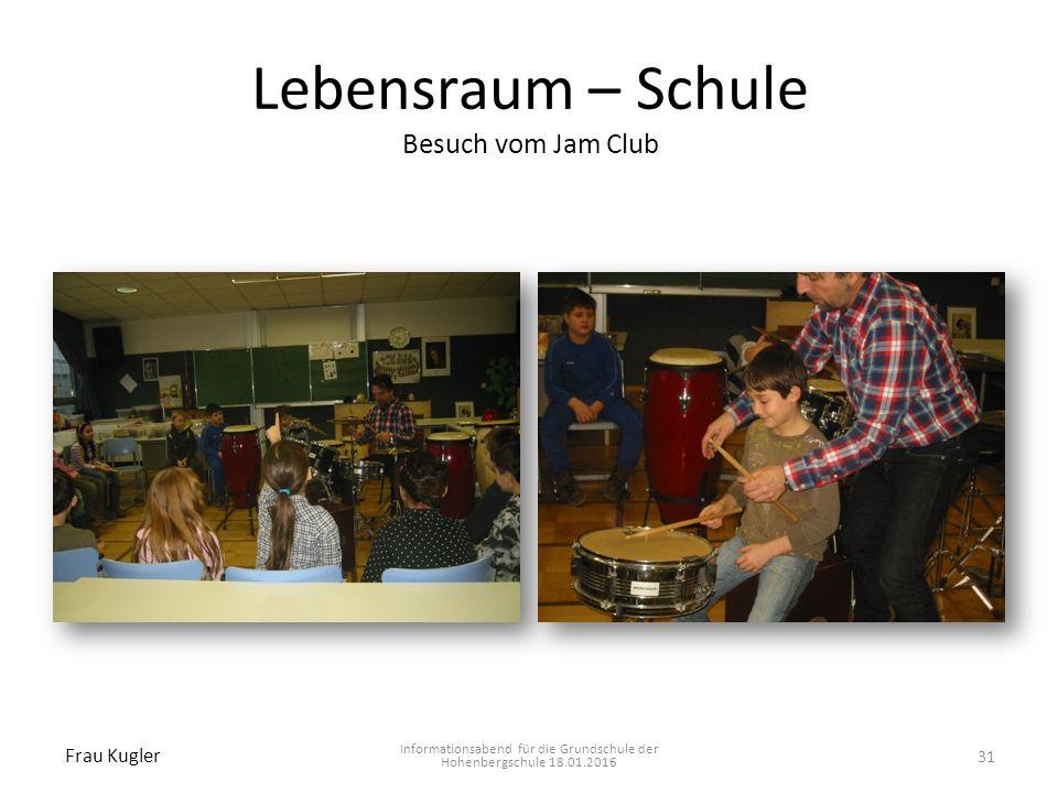 Lebensraum – Schule Besuch vom Jam Club Informationsabend für die Grundschule der Hohenbergschule 18.01.2016 Frau Kugler 31