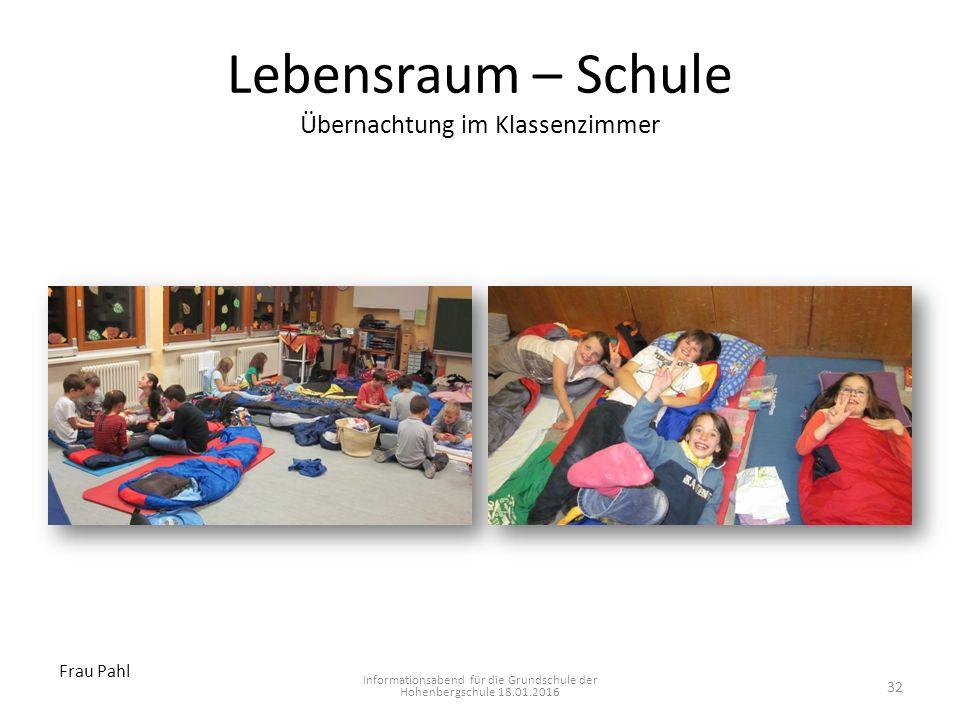 Lebensraum – Schule Übernachtung im Klassenzimmer Informationsabend für die Grundschule der Hohenbergschule 18.01.2016 Frau Pahl 32