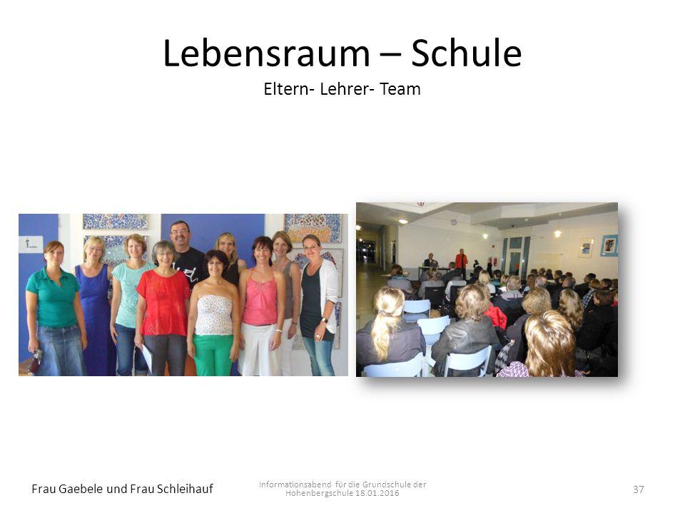 Lebensraum – Schule Eltern- Lehrer- Team Informationsabend für die Grundschule der Hohenbergschule 18.01.2016 Frau Gaebele und Frau Schleihauf 37