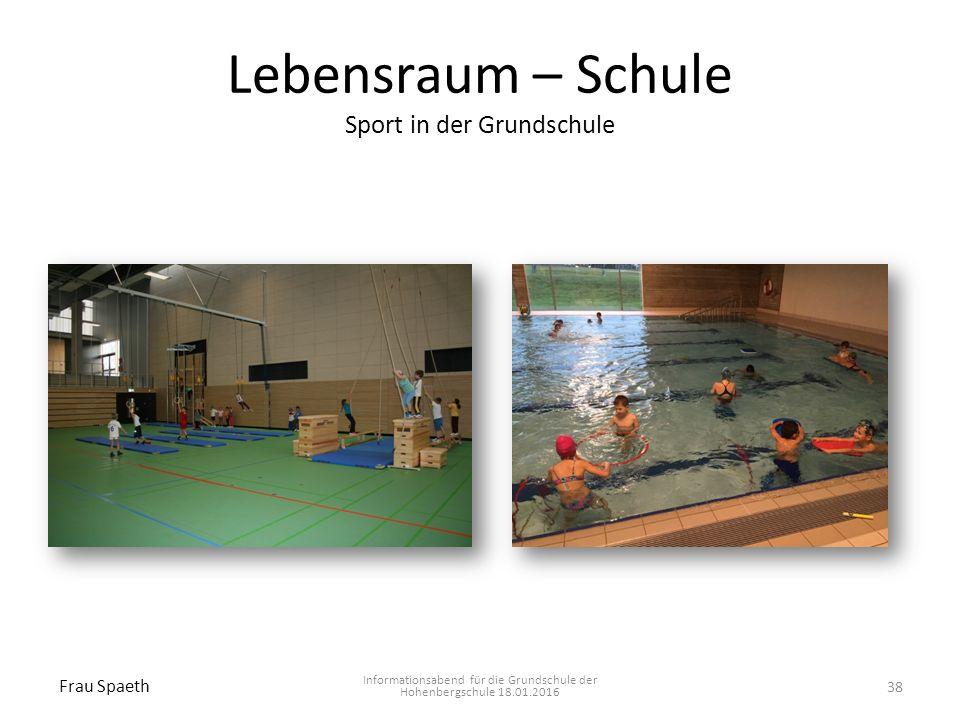 Lebensraum – Schule Sport in der Grundschule Informationsabend für die Grundschule der Hohenbergschule 18.01.2016 Frau Spaeth 38