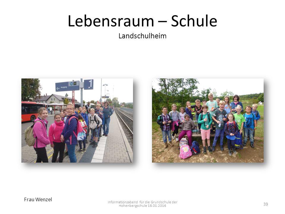 Lebensraum – Schule Landschulheim Informationsabend für die Grundschule der Hohenbergschule 18.01.2016 Frau Wenzel 39