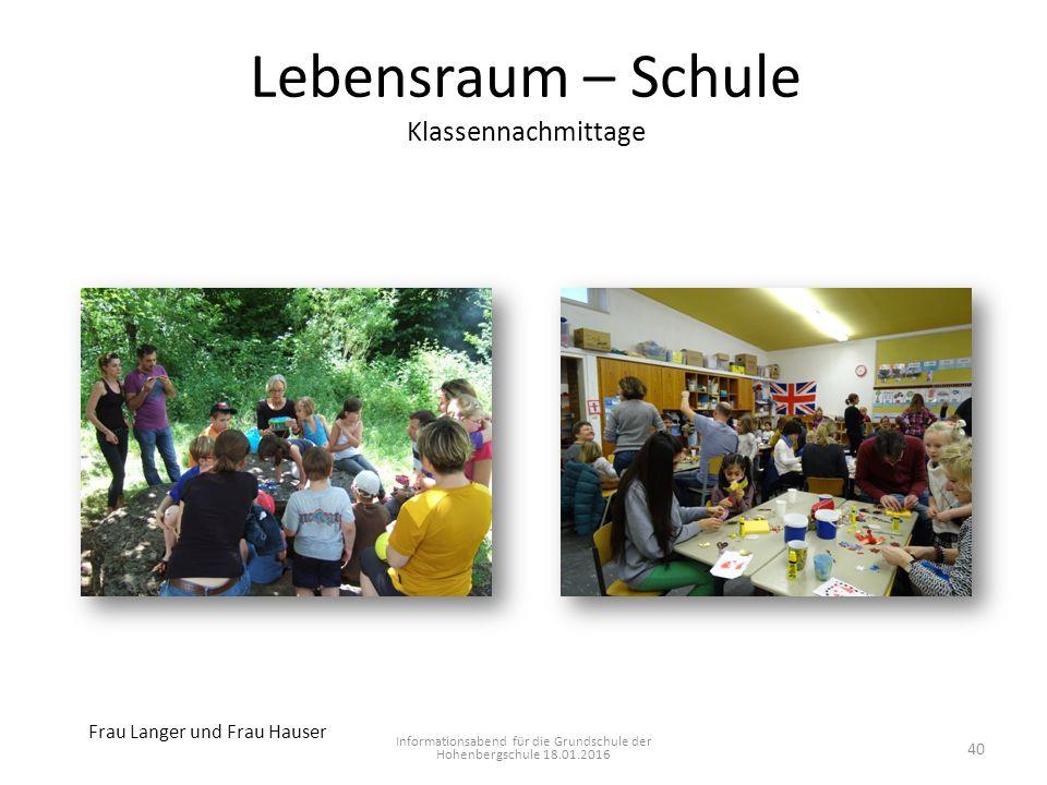 Lebensraum – Schule Klassennachmittage Informationsabend für die Grundschule der Hohenbergschule 18.01.2016 Frau Langer und Frau Hauser 40