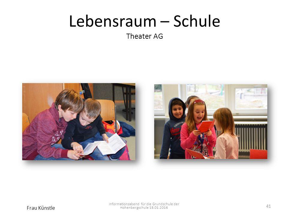 Lebensraum – Schule Theater AG Informationsabend für die Grundschule der Hohenbergschule 18.01.2016 Frau Künstle 41