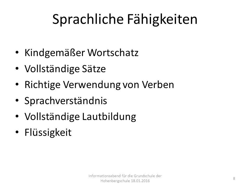 Sprachliche Fähigkeiten Kindgemäßer Wortschatz Vollständige Sätze Richtige Verwendung von Verben Sprachverständnis Vollständige Lautbildung Flüssigkei