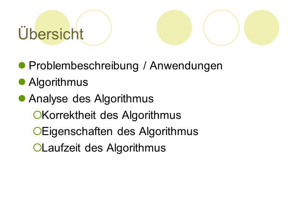 Übersicht Problembeschreibung / Anwendungen Algorithmus Analyse des Algorithmus  Korrektheit des Algorithmus  Eigenschaften des Algorithmus  Laufze