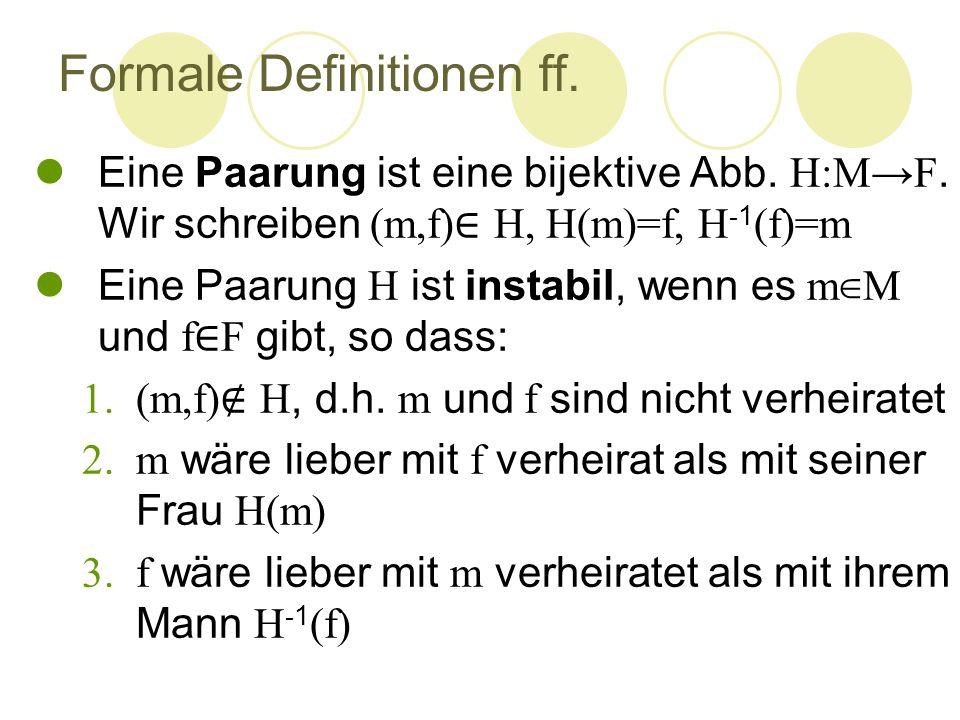Formale Definitionen ff. Eine Paarung ist eine bijektive Abb. H:M→F. Wir schreiben (m,f) ∈ H, H(m)=f, H - 1 (f)=m Eine Paarung H ist instabil, wenn es