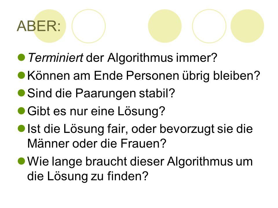 ABER: Terminiert der Algorithmus immer? Können am Ende Personen übrig bleiben? Sind die Paarungen stabil? Gibt es nur eine Lösung? Ist die Lösung fair