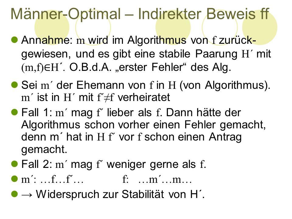 Männer-Optimal – Indirekter Beweis ff Annahme: m wird im Algorithmus von f zurück- gewiesen, und es gibt eine stabile Paarung H´ mit (m,f) ∈ H´. O.B.d