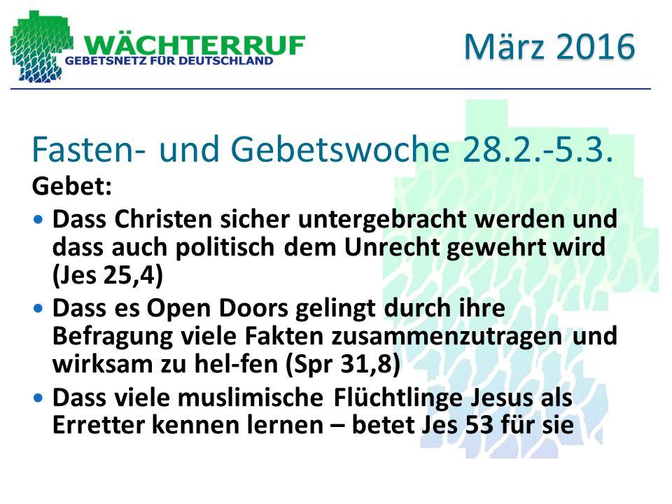 Fasten- und Gebetswoche 28.2.-5.3.