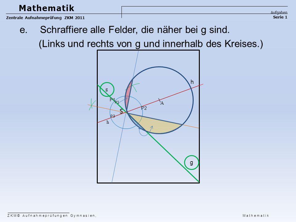 ZKM© Aufnahmeprüfungen Gymnasien, Mathematik Mathematik Aufgaben Serie 1 Zentrale Aufnahmeprüfung ZKM 2011 g h A S P2 P1 g h P3 e. Schraffiere alle Fe