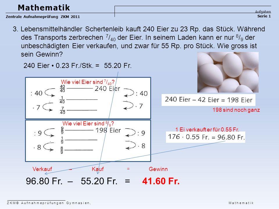 3. Lebensmittelhändler Schertenleib kauft 240 Eier zu 23 Rp. das Stück. Während des Transports zerbrechen 7 / 40 der Eier. In seinem Laden kann er nur