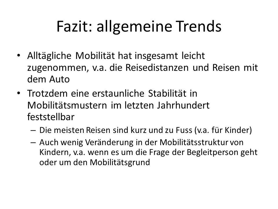 Fazit: allgemeine Trends Alltägliche Mobilität hat insgesamt leicht zugenommen, v.a. die Reisedistanzen und Reisen mit dem Auto Trotzdem eine erstaunl