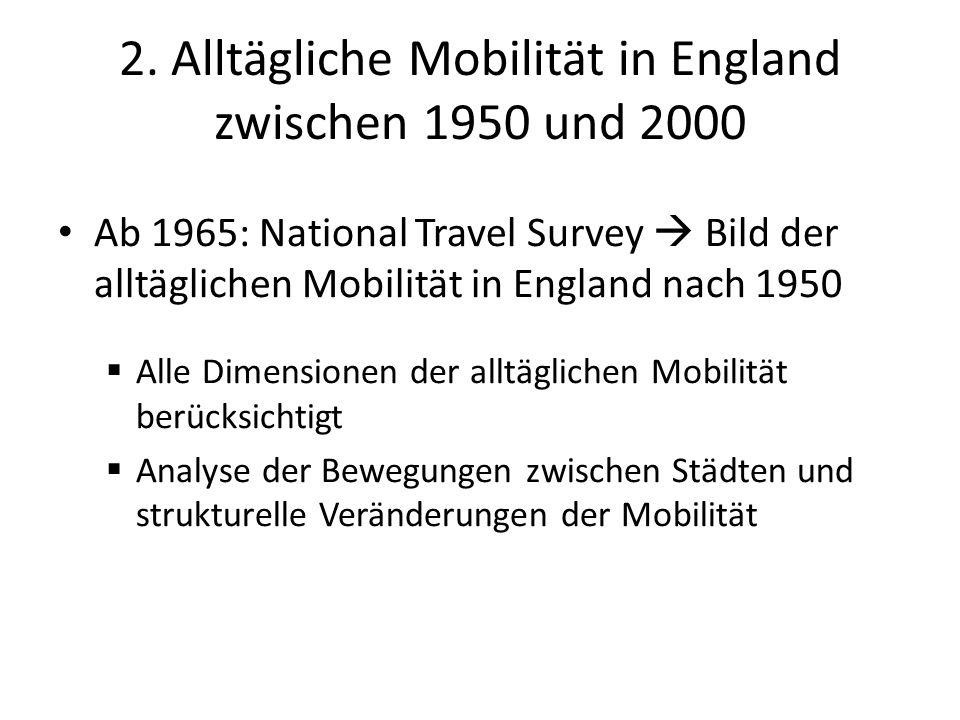 Übersicht: grobe Trends gesammelte Daten zeigen im Vergleich zum National Travel Survey (NTS) im Allgemeinen weniger Mobilitätsveränderungen in den letzten 60 Jahren als bisher angenommen Mittlere Reisedistanzen haben sich seit den 40ern wenig verändert, wo hingegen sich die Reisezeiten verkürzt haben