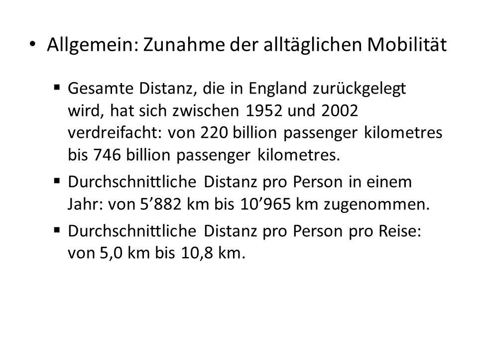 Allgemein: Zunahme der alltäglichen Mobilität  Gesamte Distanz, die in England zurückgelegt wird, hat sich zwischen 1952 und 2002 verdreifacht: von 2